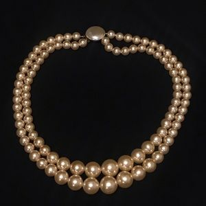 Two Layer Vintage Necklace Faux Pearl Champagne